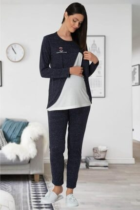 Mecit Kadın Lacivert Emzirme Özellikli Lohusa Pijama Takımı