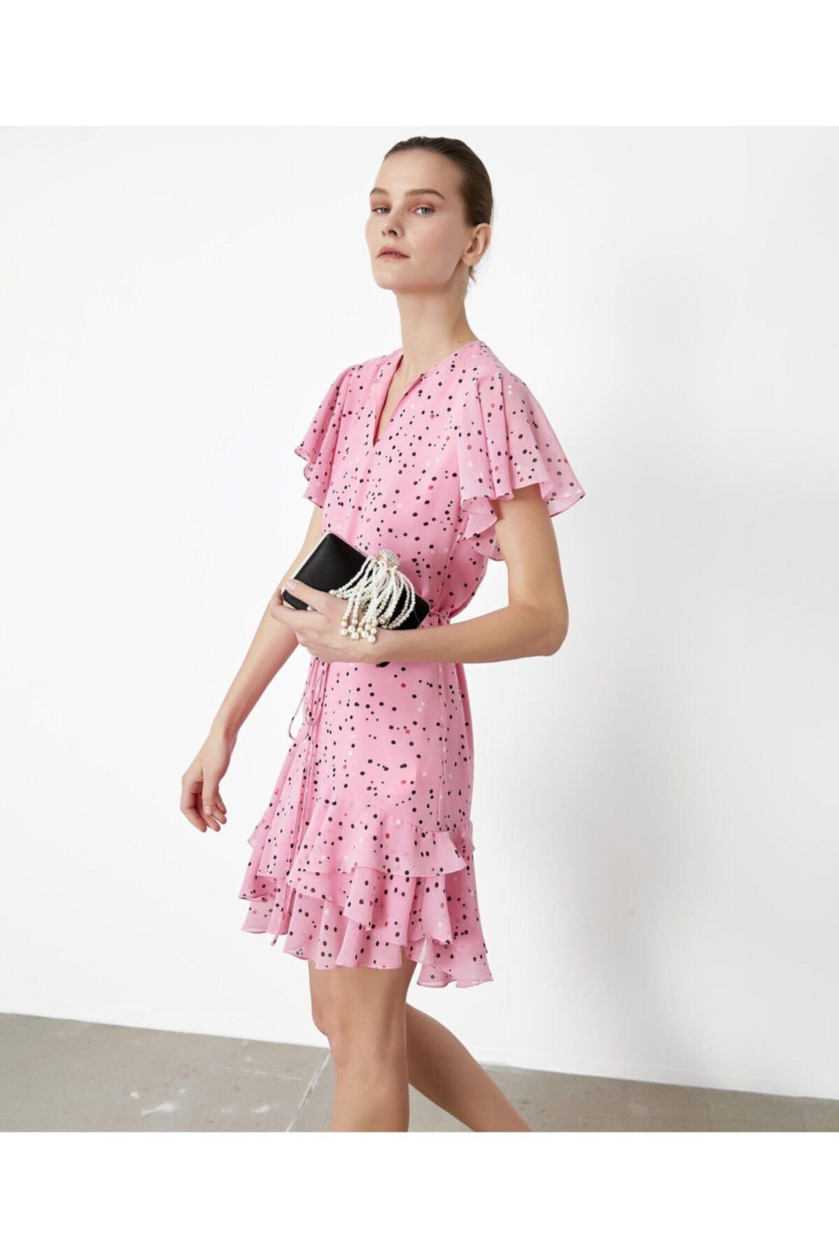İpekyol Kadın Pembe Fırfır Şeritli Elbise IS1200002377033 2