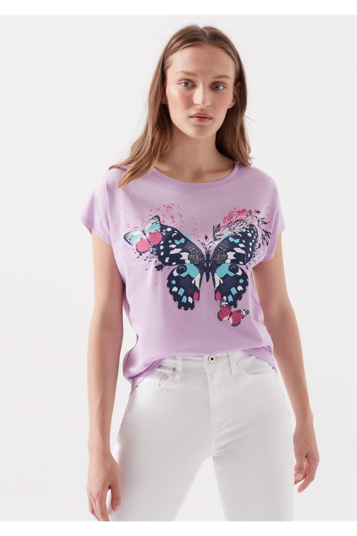 Mavi Kelebek Baskılı Lila Tişört 2
