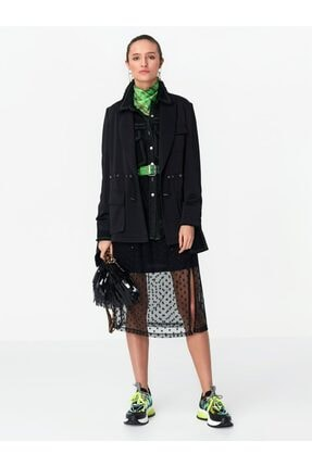 Twist Kadın Siyah Ayarlanabilir Bel Ceket