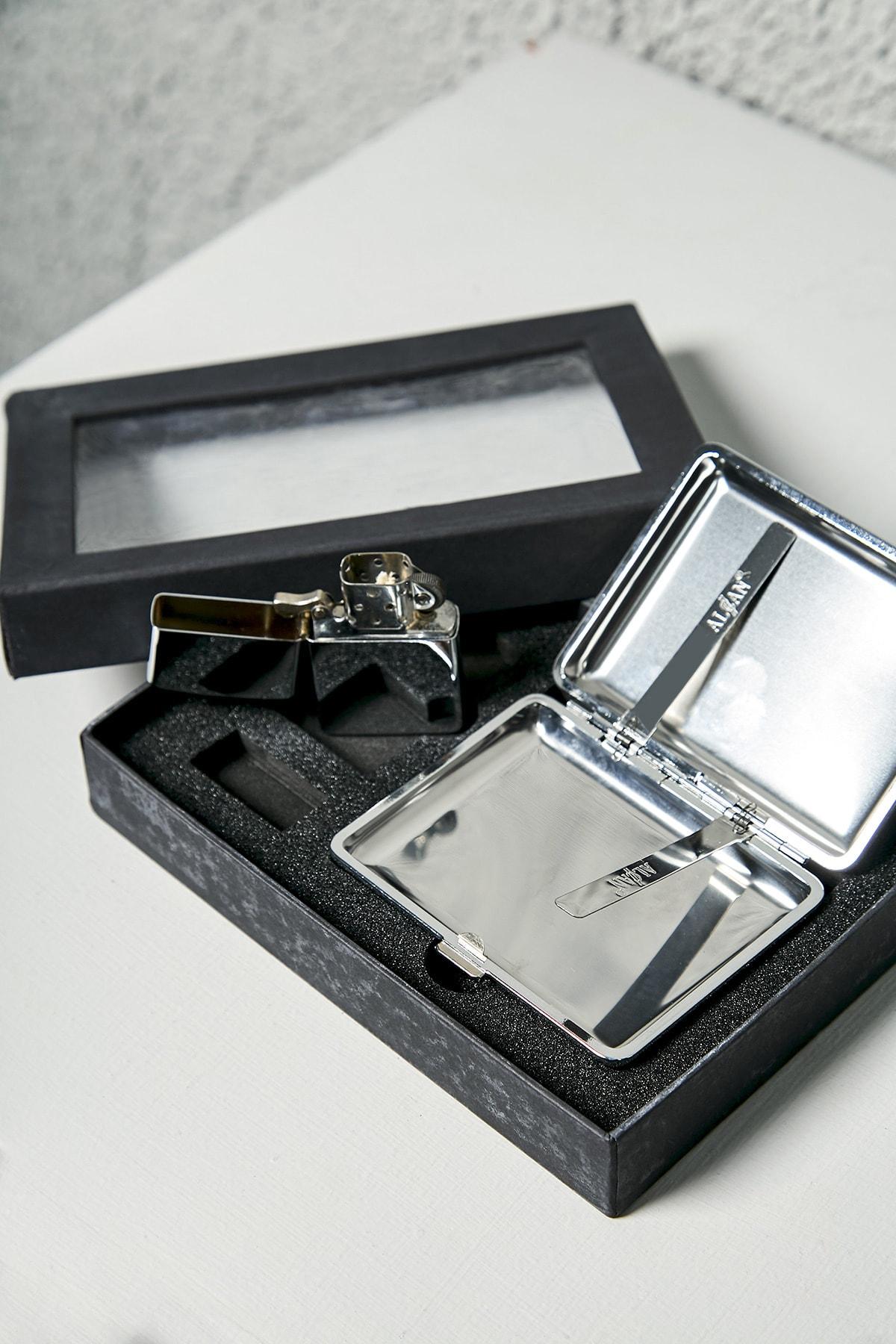 Sateen Men Gümüş Kutulu Ikili Çakmak Set 2