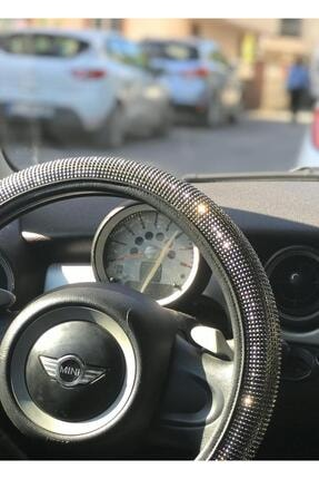 Arabasına Aşıklar Kulübü Full Taşlı Gümüş Ve Füme Renk 38*40 Cm Direksiyon Kılıfı