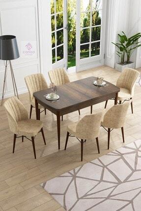 Canisa Concept Eva Serisi Mdf Barok Ahşap Desenli Açılabilir Barok Masa Ve 6 Krem Sandalye Mutfak Takımı
