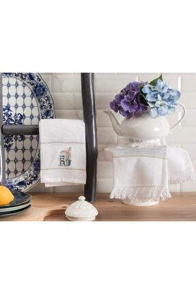 Madame Coco Raina Mutfak Havlu Seti - Beyaz / Mavi - 40x60 Cm