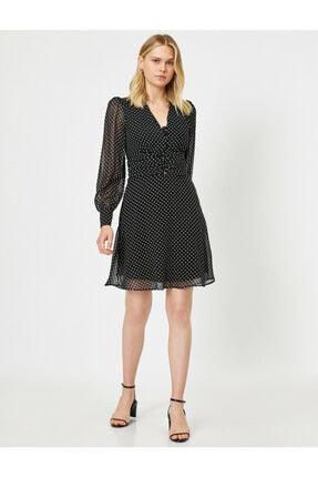 Koton Kadın Siyah Puantiye Desenli Şifon Elbise