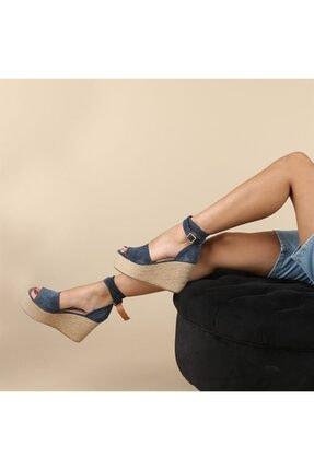 Oblavion Kadın Lacivert Galia Hakiki Deri  Dolgu Topuklu Ayakkabı