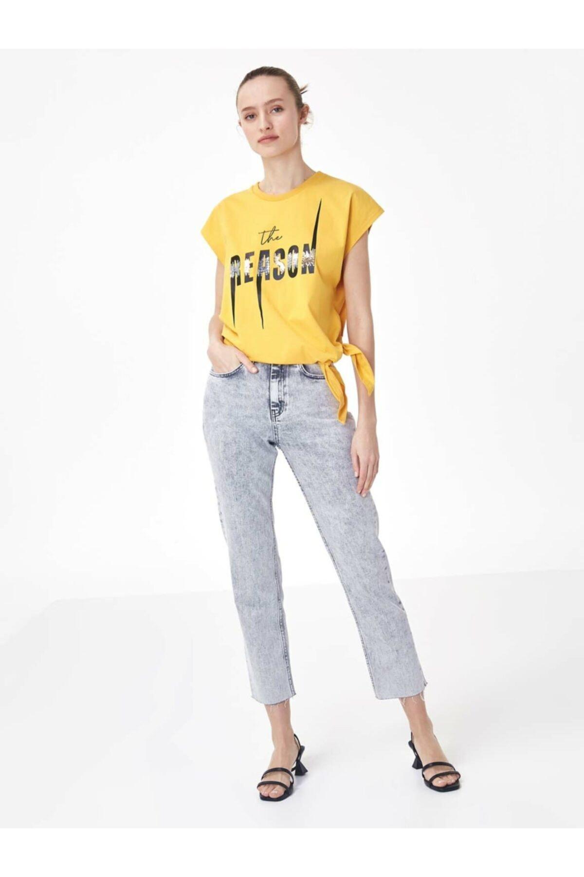 Twist Kadın Turuncu Baskı Üzeri Payet İşli Tişört 2