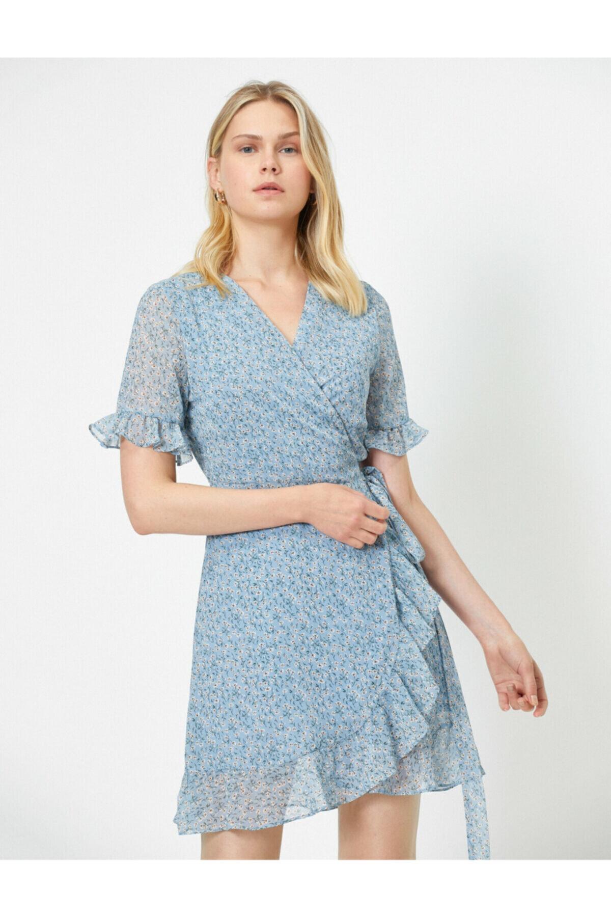 Koton Kadın Mavi Çiçek Desenli Anvelop Elbise 2
