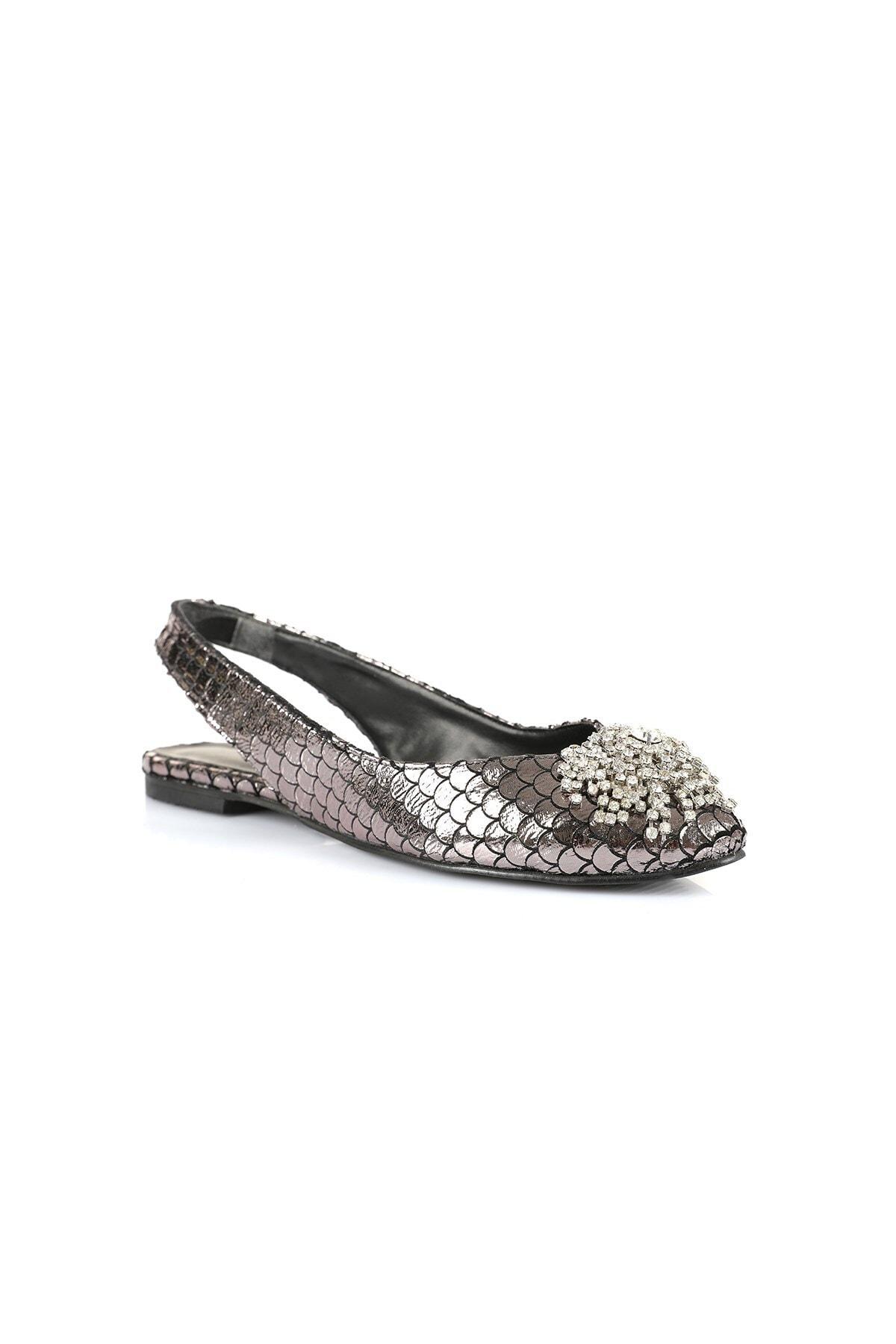 Oblavion Kadın Platin Taş Detaylı Sandalet 2