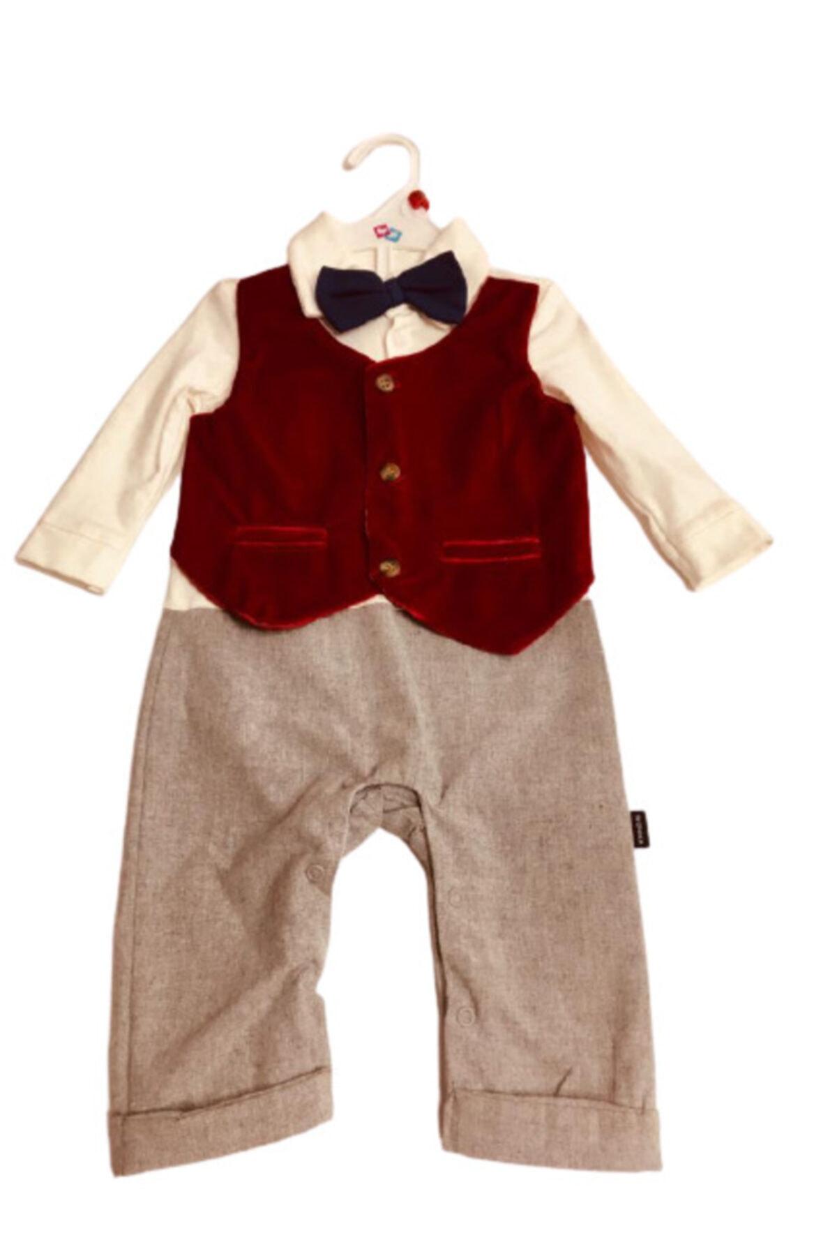 Wonder Kıds Erkek Bebek Bordo Papyonlu Tulum 1
