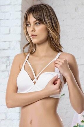 Lohusa Sepeti Kadın Beyaz Balensiz Soft Cup Lace Emzirme Sütyeni 2'li Paket