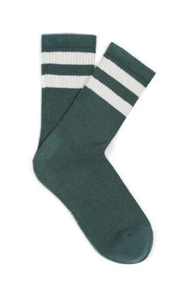 Mavi Bileği Çizgili Yeşil Çorap