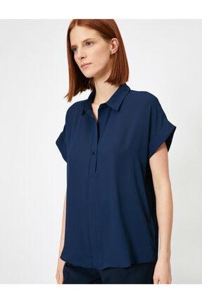 Koton Kadın Lacivert Düğme Detaylı Bluz