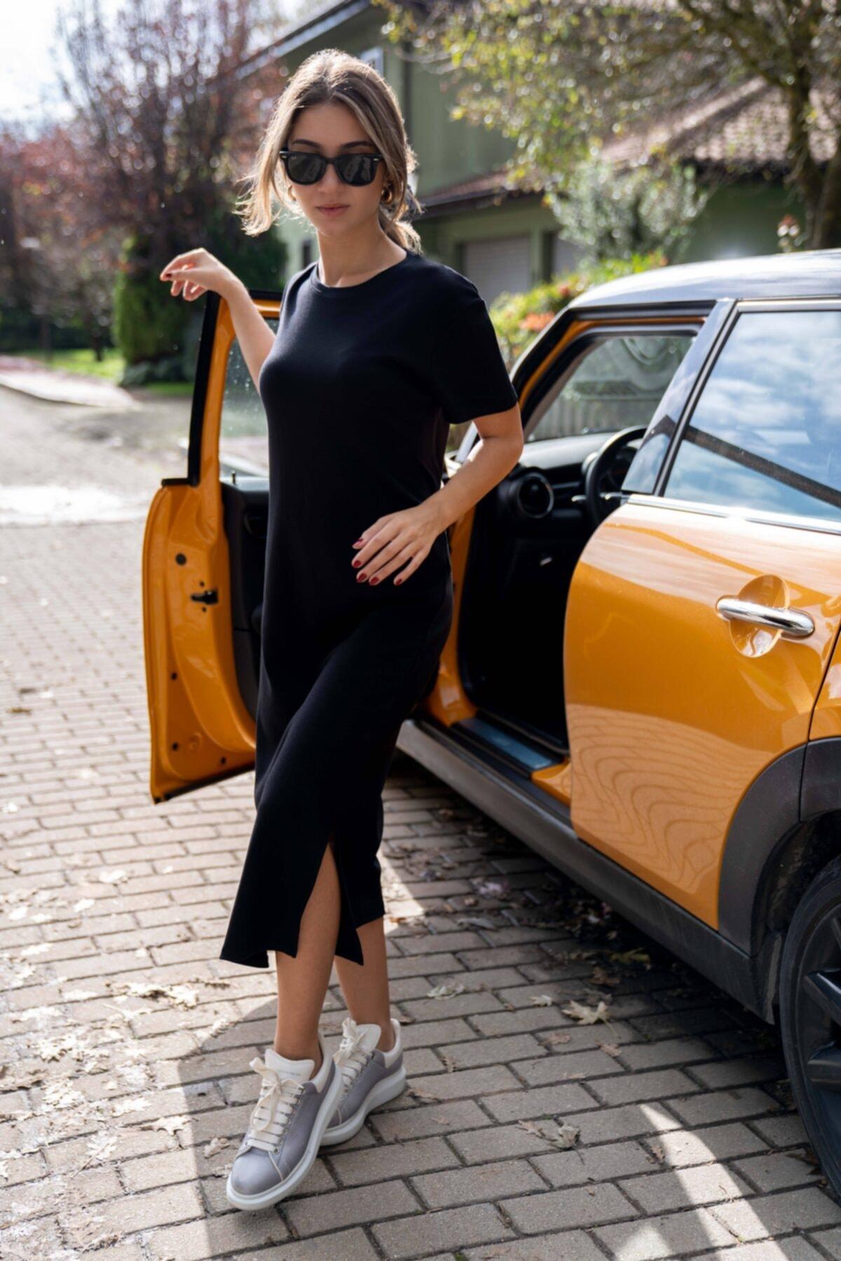 BeCasual Kadın Siyah Bisiklet Yaka Basic Elbise 1