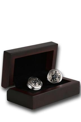 Kravatkolik Erkek Gümüş Renk Füme Taşlı Kol Düğmesi Kd1237