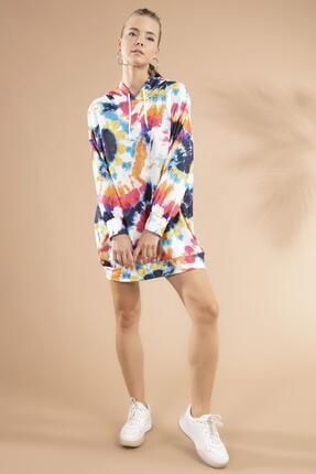 Y-London Kadın Batik Desenli Kapşonlu Sweatshirt Elbise Y20w110-4125-12