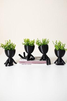 XYZ SAKSI Siyah Yapay Çiçekli İnsansı Saksılar Dörtlü Set