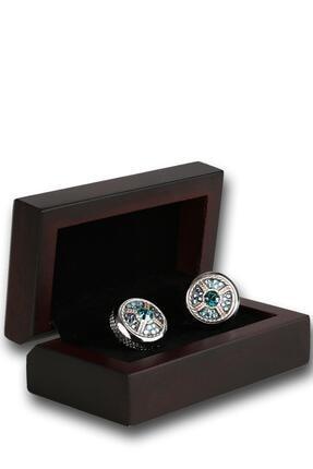 Kravatkolik Erkek Gümüş Renk Yeşil Taşlı Kol Düğmesi Kd1209