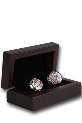 Kravatkolik Erkek Gümüş Renk Pembe Taşlı Kol Düğmesi Kd1216
