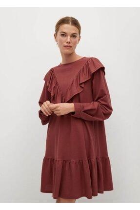 MANGO Woman Kadın Pembe Dökümlü Fırfırlı Elbise 87050527