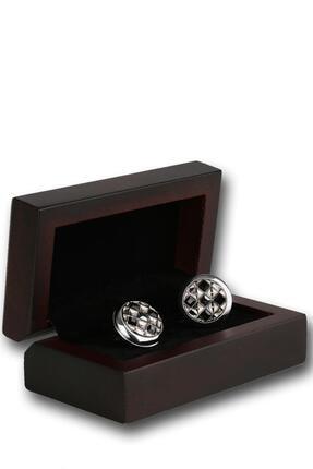 Kravatkolik Erkek Gümüş Renk Siyah Taşlı Kol Düğmesi Kd1214