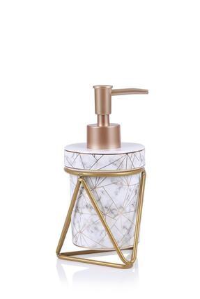 ACAR Josie Seramik Oval Metal Standlı Sıvı Sabunluk - Beyaz