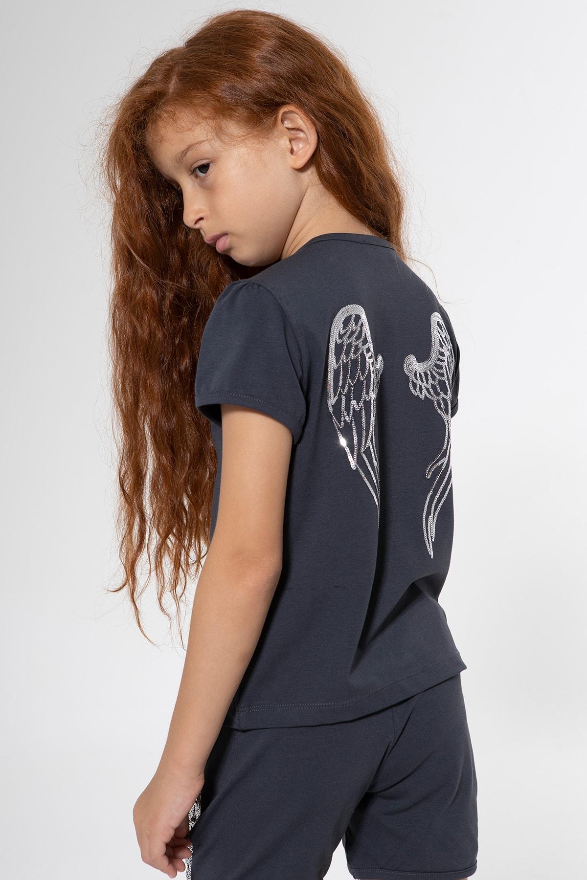 Colorinas Kız Çocuk Antrasit Melek Kanatlı T-Shirt 1