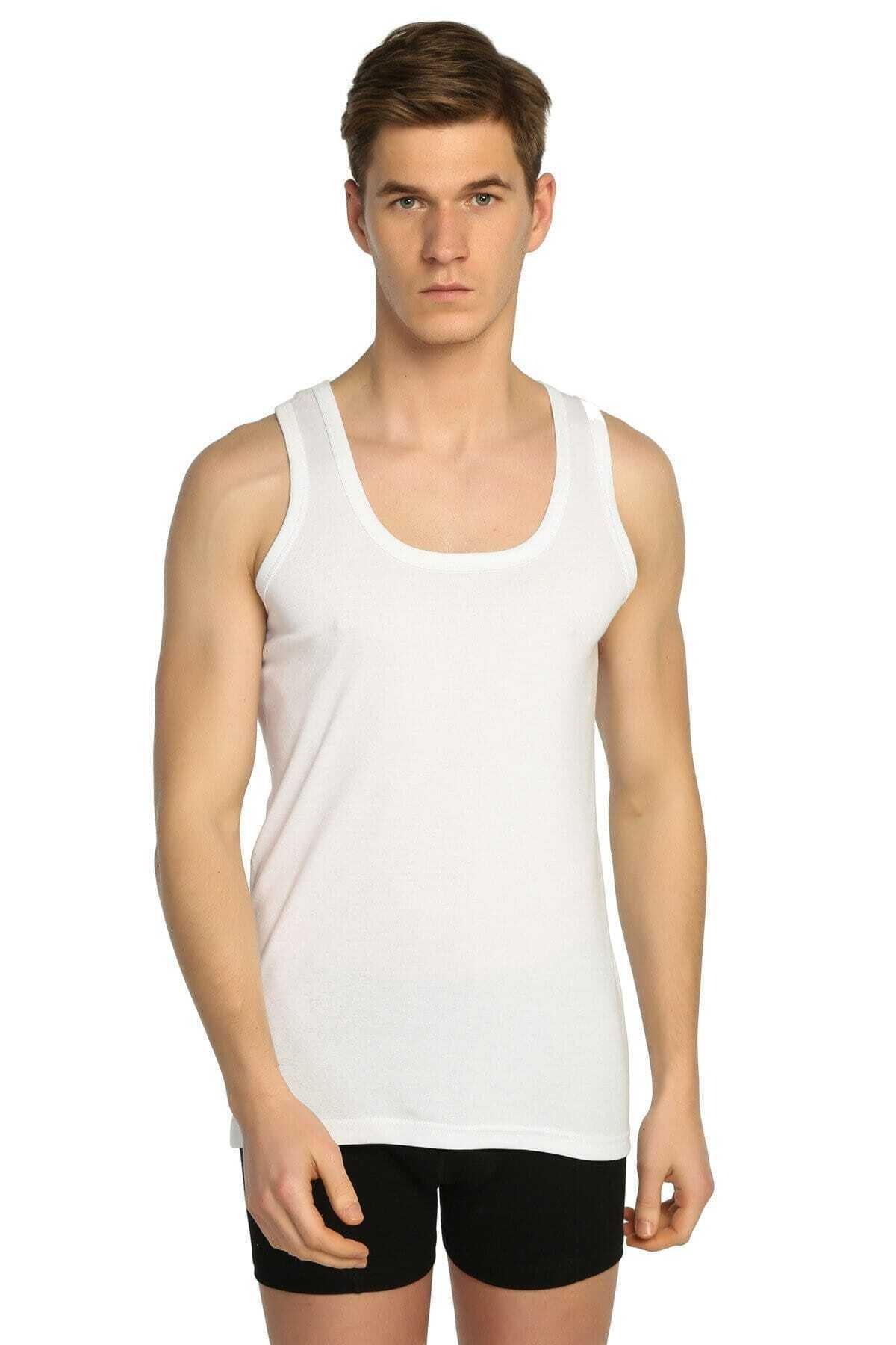 Tutku Erkek Beyaz  Ribana Likralı Atlet 3'lü Paket 1
