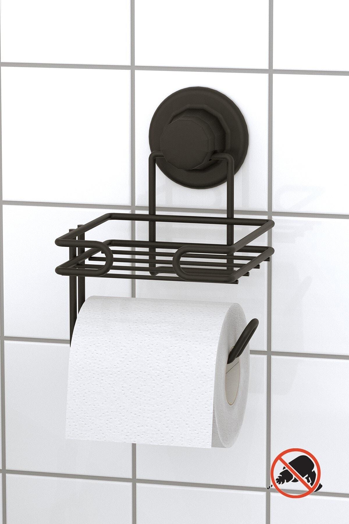 Teknotel Mat Siyah Vakumlu Yedekli Tuvalet Kağıtlık Dm275 1