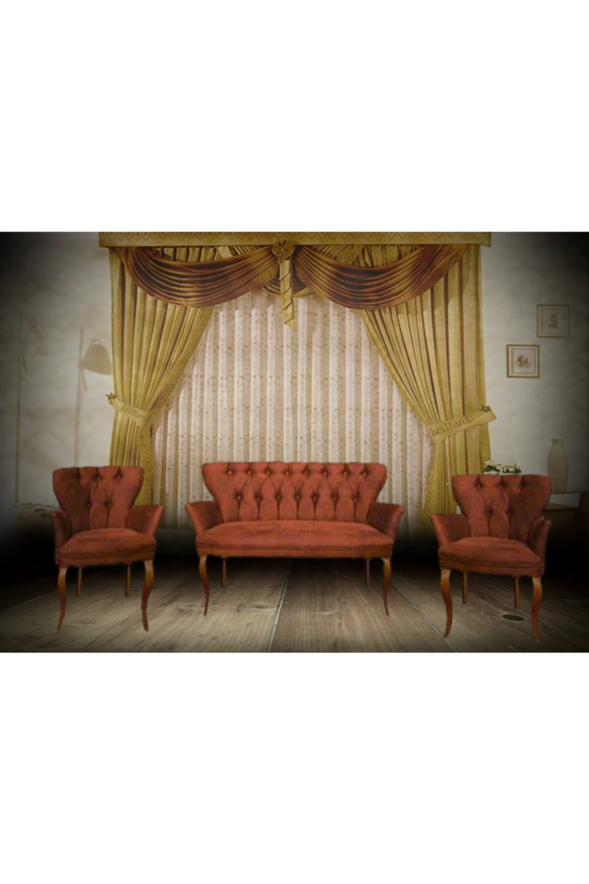 Güvensan mobilya Trendy Home Çay Seti Koltuk Takımı Kiremit Renk 2+1+1 1