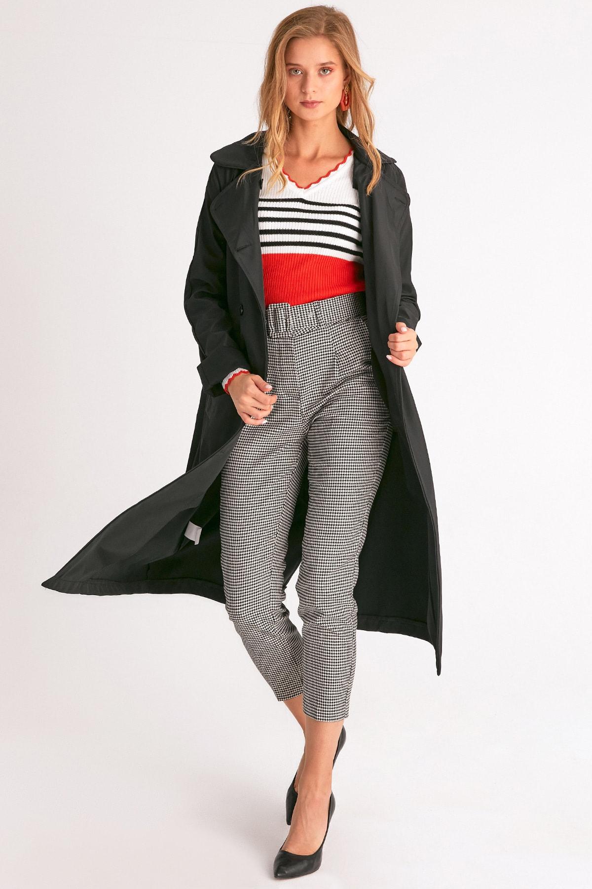 Fulla Moda Kadın Siyah Klasik Kemerli Trençkot 1