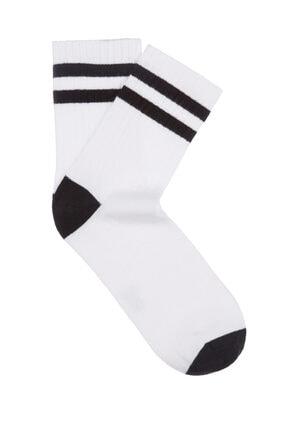 Mavi Çizgili Beyaz Çorap