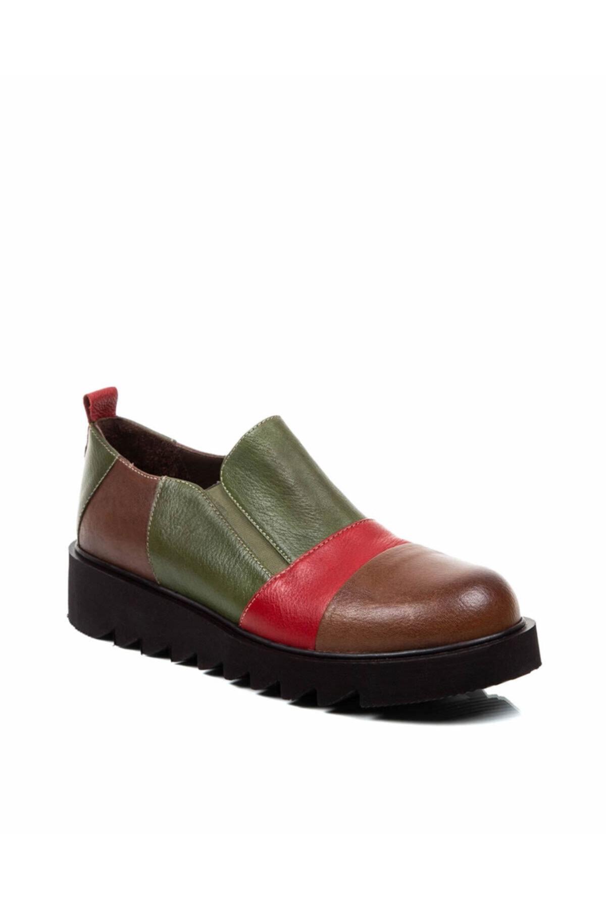 Beta Shoes Kadın Taba Hakiki Deri Casual Ayakkabı 1