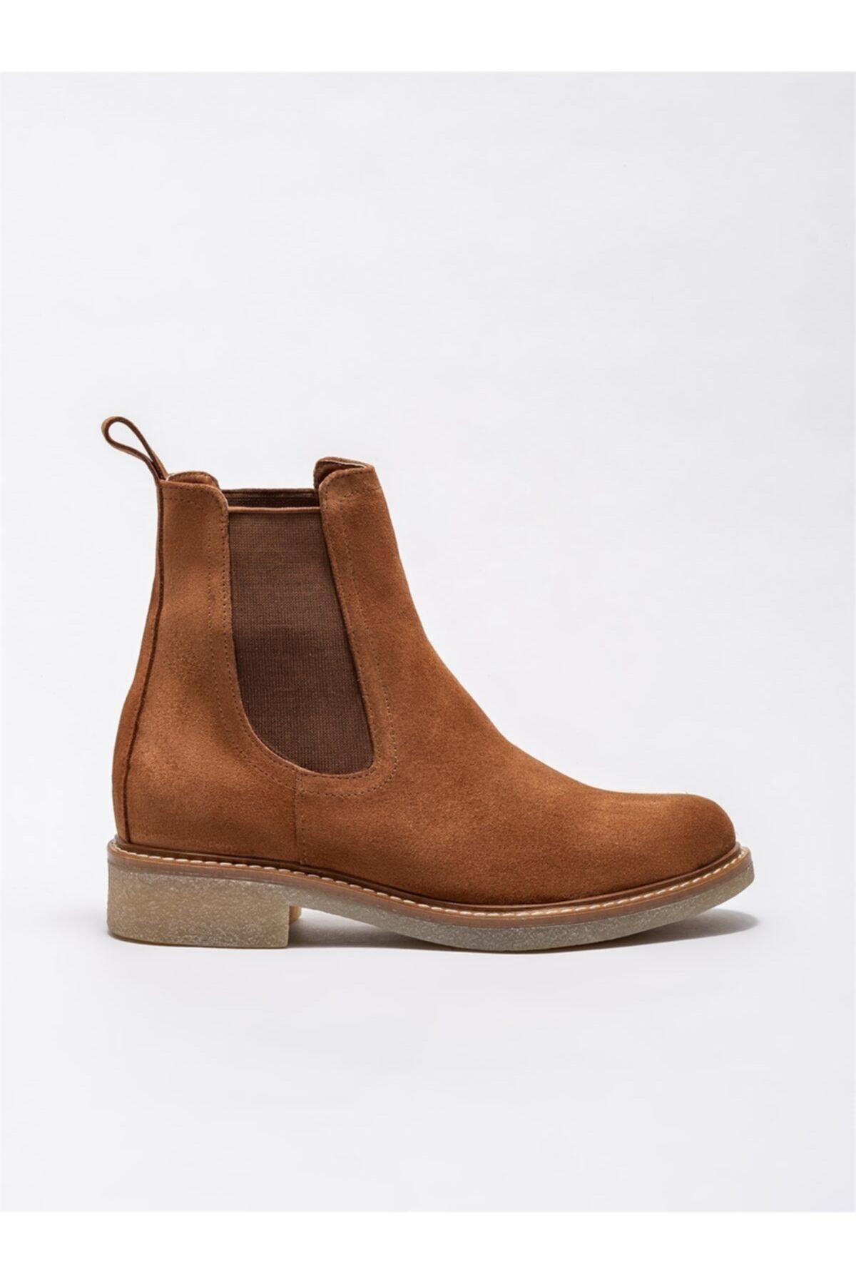 Elle Shoes Taba Deri Kadın Günlük Düz Bot 1