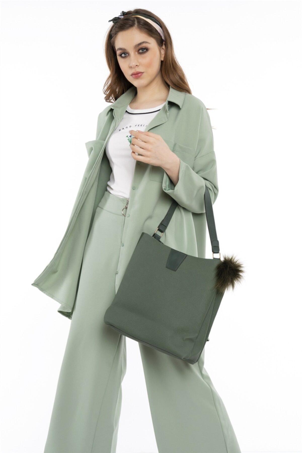 Hadise Kadın Mint Yeşil Çift Cepli Salaş Gömlek 2674 1