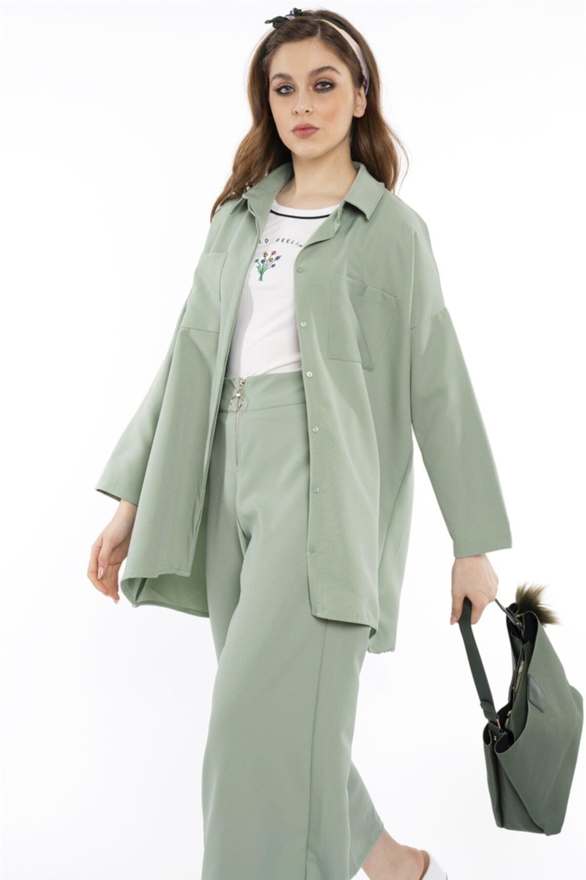 Hadise Kadın Mint Yeşil Çift Cepli Salaş Gömlek 2674 2