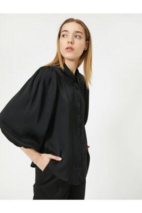 Koton Kadın Siyah Klasik Yaka Uzun Kollu Düğme Detaylı Gömlek
