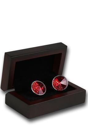 Kravatkolik Gümüş Renk Kırmızı Taşlı Kol Düğmesi Kd1246