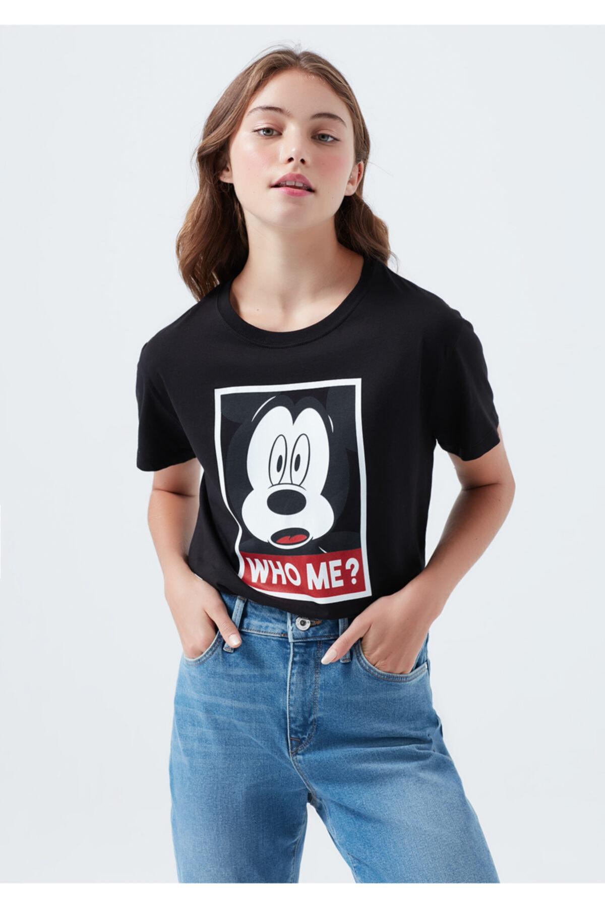 Mavi Kadın Lisanslı Mickey Mouse Baskılı Tişört 1600325-900 1