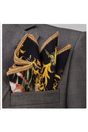 Exve Exclusive Erkek Siyah Üstü Kırmızı Hardal Çiçekli Kenar Örgülü Cep Mendili