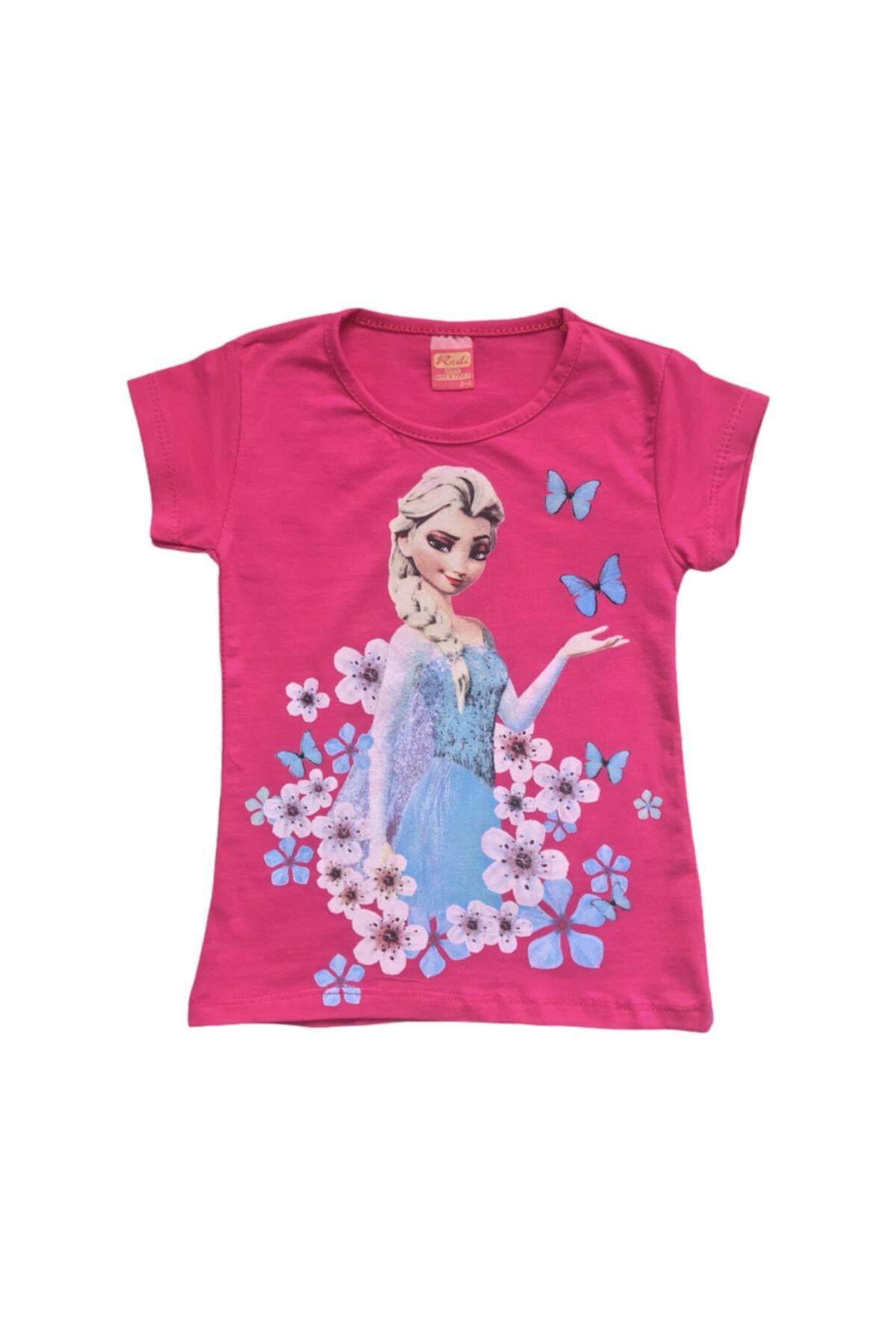 rudi kids Kız Çocuk Fuşya Rengi Rudi Frozen Elsa Baskılı  Tişört 1
