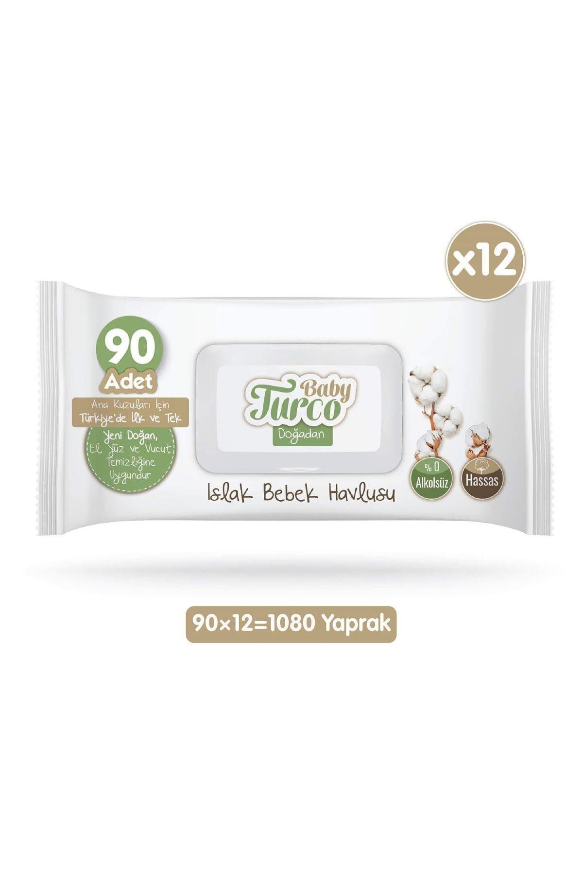 Baby Turco Doğadan Islak Bebek Havlusu 12x90 Yaprak 2