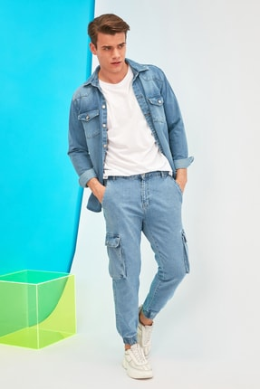 TRENDYOL MAN Lacivert Erkek Loose Fit Kargo Jogger Jeans TMNSS21JE0118
