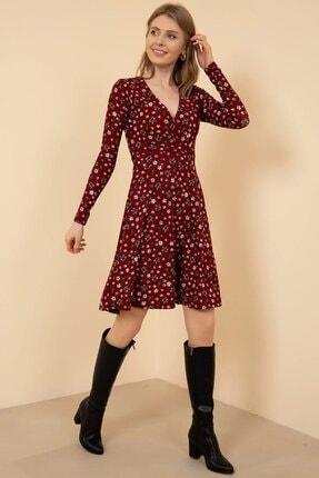 Mercan Kadın Bordo Çiçekli Elbise
