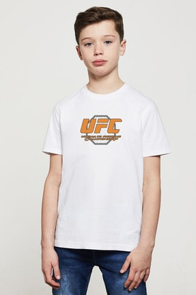 QIVI Ufc Ultimate Fighting Championship Baskılı Unisex Çocuk Beyaz Tshirt