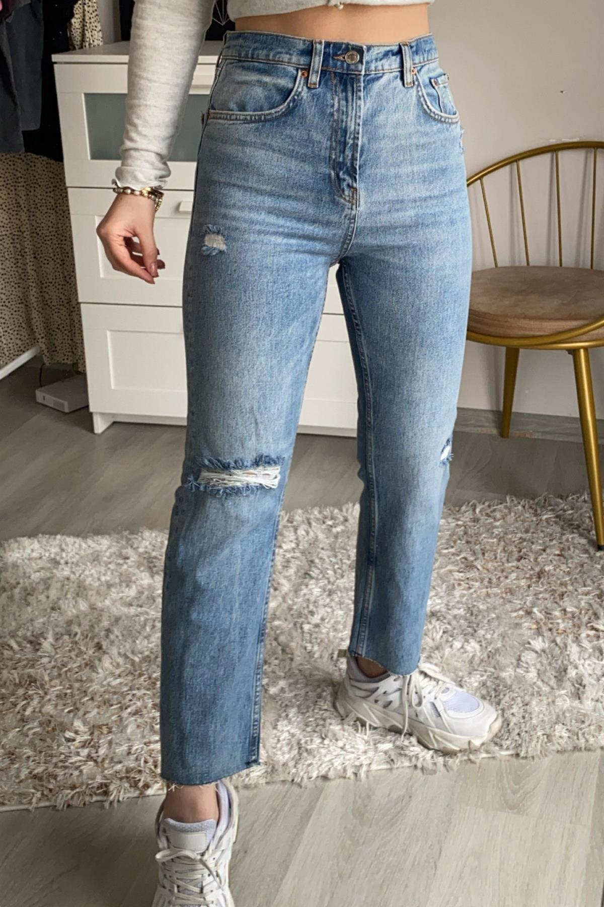 Narferita Barbara Kot Renk Kesik Paça Straight Jeans 1