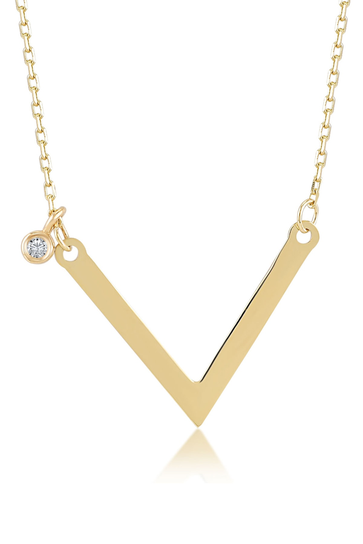 Gelin Pırlanta Kadın Altın Diamond Sade Pırlantalı V Kolye 1