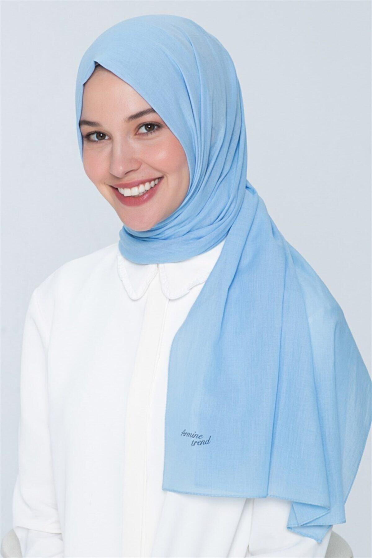 Armine Kadın Trend Pamuk Şal - Bebe Mavisi 1