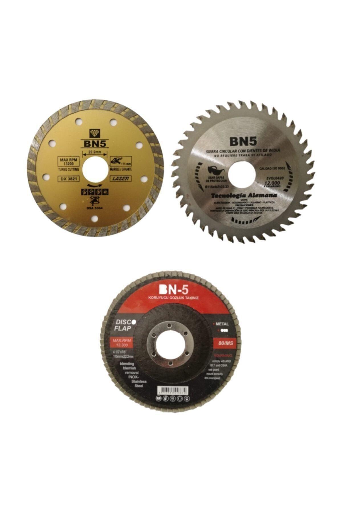 BN5 Ahşap Kesme Mermer Fayans Kesici 60 Kum Zımpara 115 Mm 3lü Disk Seti 1