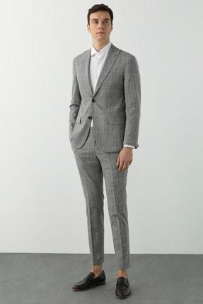 Network Erkek Slim Fit Bej Ekoseli Takım Elbise 1078614